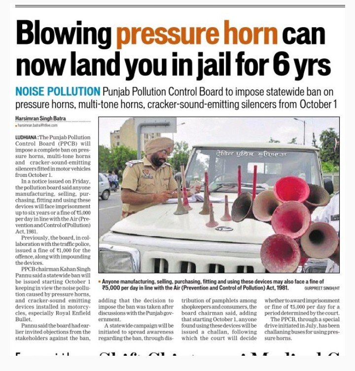Blowing pressure horn can put in six years jail | theguglu